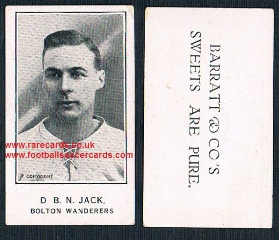 1925 D B N Jack Bolton Wanderers Plymouth Barratt Sweets Are Pure  Boro Arsenal